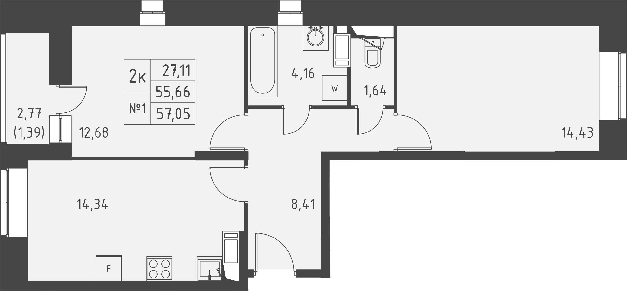 2-к.кв, 58.44 м²