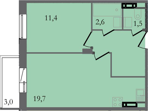 2-комнатная 44 м<sup>2</sup> на 4 этаже