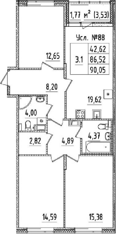 4-комнатная 90 м<sup>2</sup> на 2 этаже