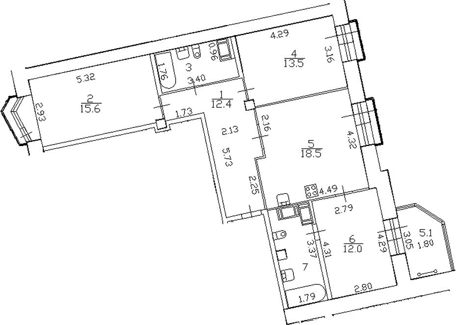 4-комнатная 88 м<sup>2</sup> на 16 этаже