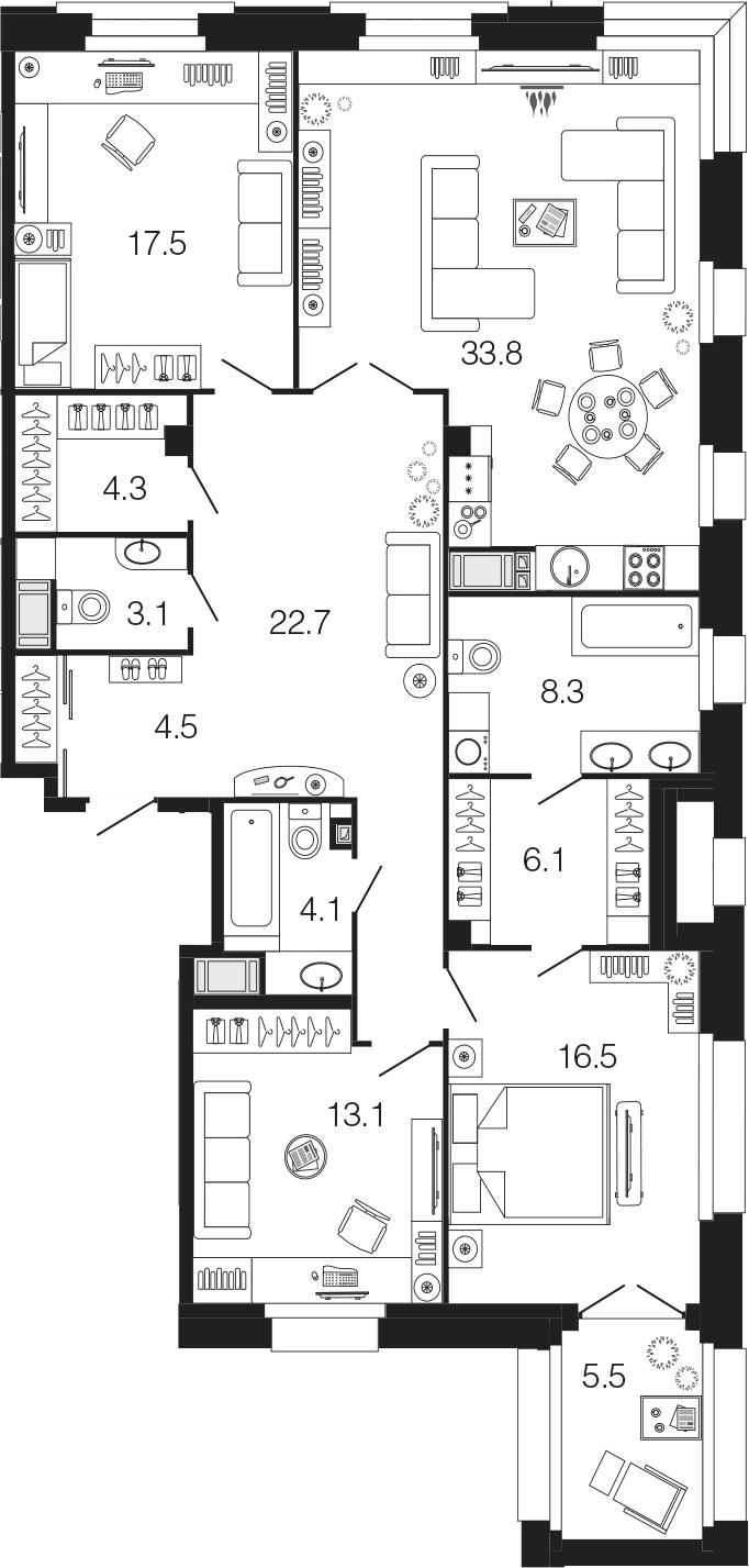 4-комнатная 139 м<sup>2</sup> на 4 этаже