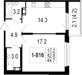 1-комнатная 47 м<sup>2</sup> на 8 этаже