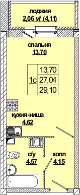 Студия, 31.2 м²