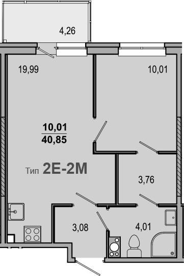 2-комнатная 45 м<sup>2</sup> на 10 этаже