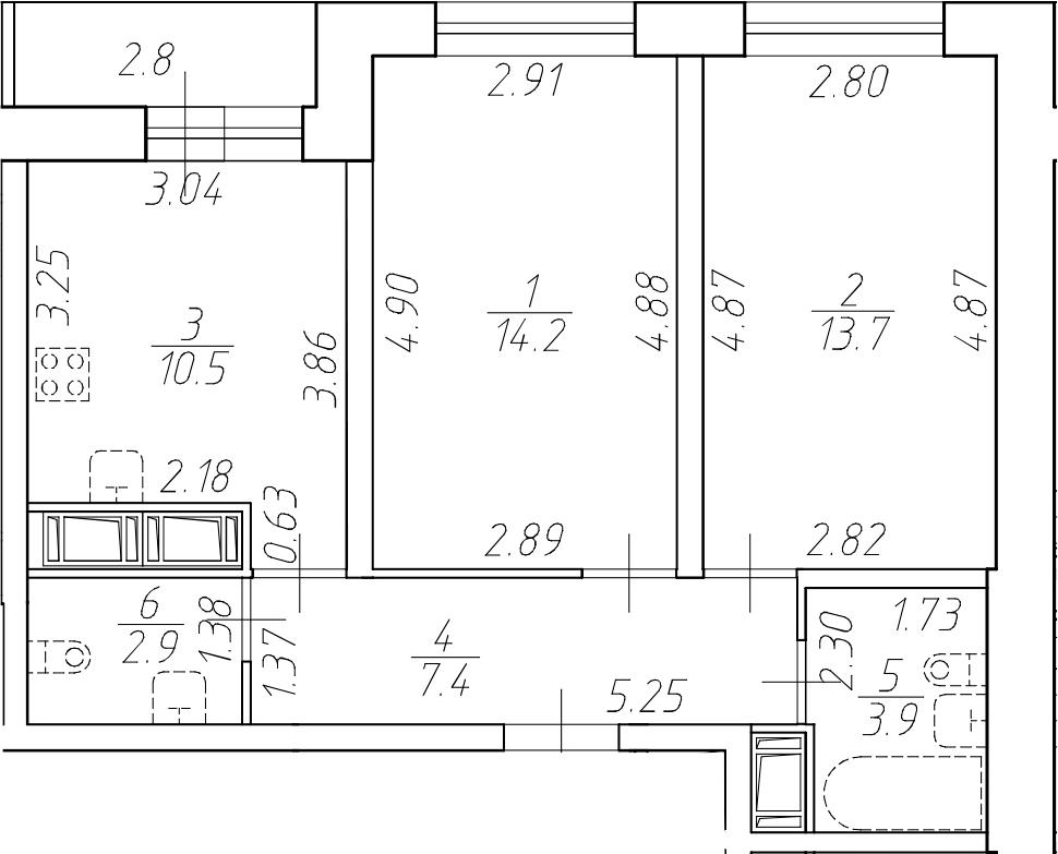 2-комнатная 55 м<sup>2</sup> на 17 этаже