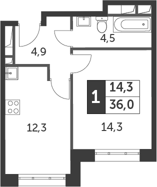 1-к.кв, 36 м²