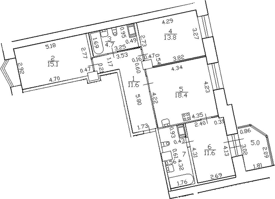 4-комнатная 86 м<sup>2</sup> на 4 этаже