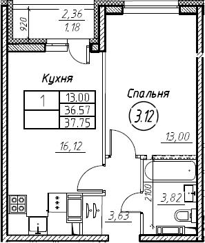 2-комнатная 38 м<sup>2</sup> на 16 этаже