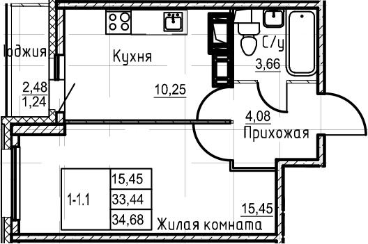 1-комнатная 35 м<sup>2</sup> на 20 этаже