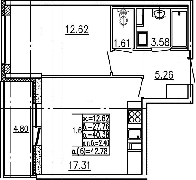 2-комнатная 45 м<sup>2</sup> на 1 этаже