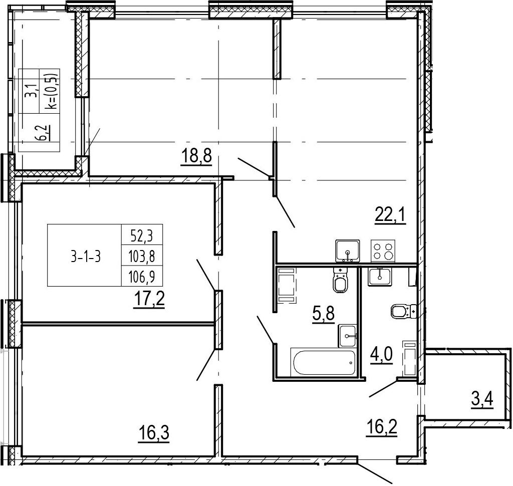 4-комнатная 110 м<sup>2</sup> на 2 этаже