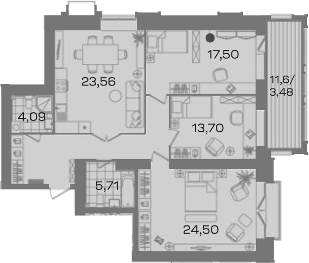 3-комнатная 116 м<sup>2</sup> на 3 этаже