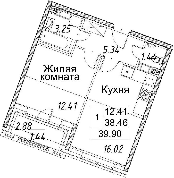 2-к.кв (евро), 41.34 м²