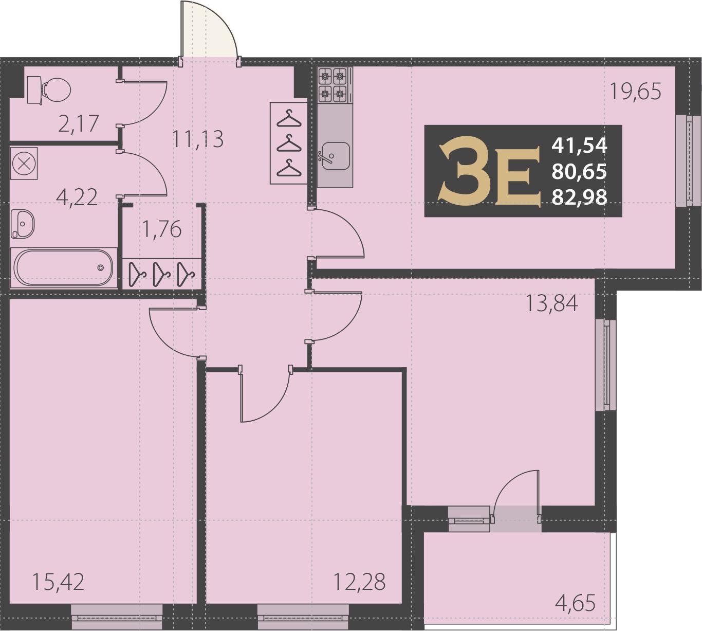 4-комнатная 85 м<sup>2</sup> на 1 этаже