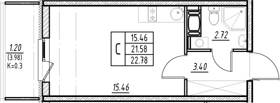 Студия 25 м<sup>2</sup> на 9 этаже
