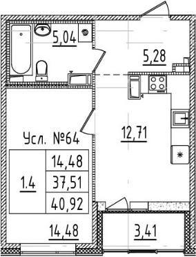 1-комнатная 40 м<sup>2</sup> на 6 этаже