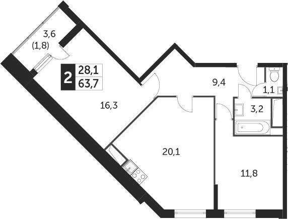 3-к.кв (евро), 65.5 м²