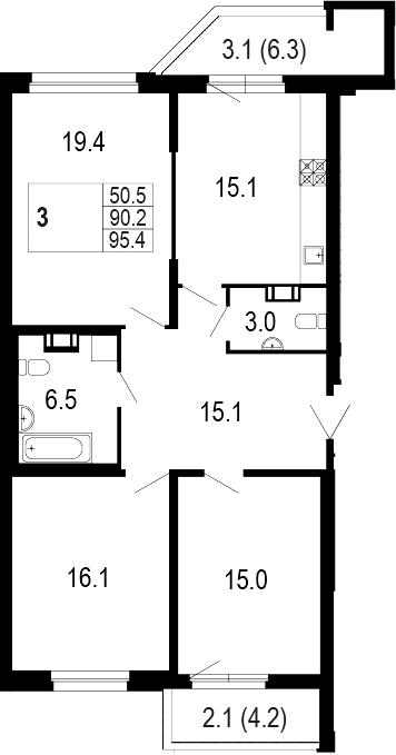 4-комнатная 99 м<sup>2</sup> на 3 этаже