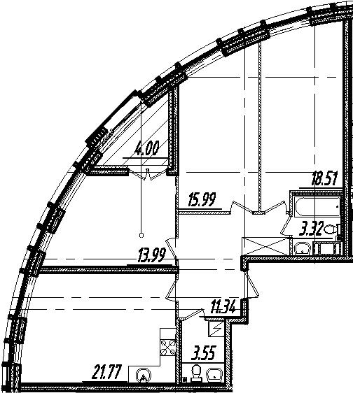 4-комнатная 92 м<sup>2</sup> на 8 этаже