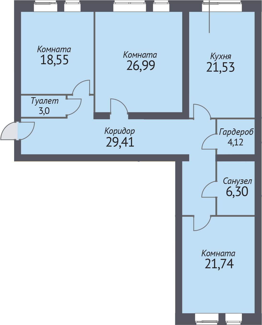 3-к.кв, 128.2 м²