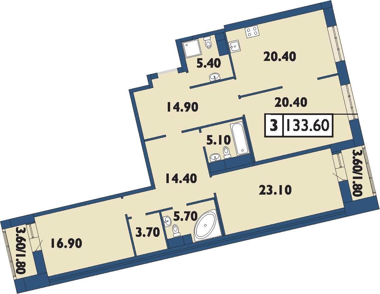 4-к.кв (евро), 137.2 м²