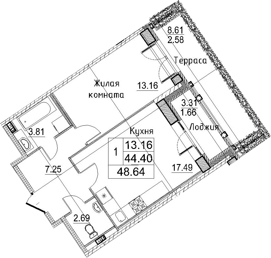 2-к.кв (евро), 56.32 м²