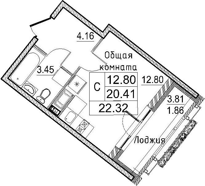 Студия, 24.18 м²