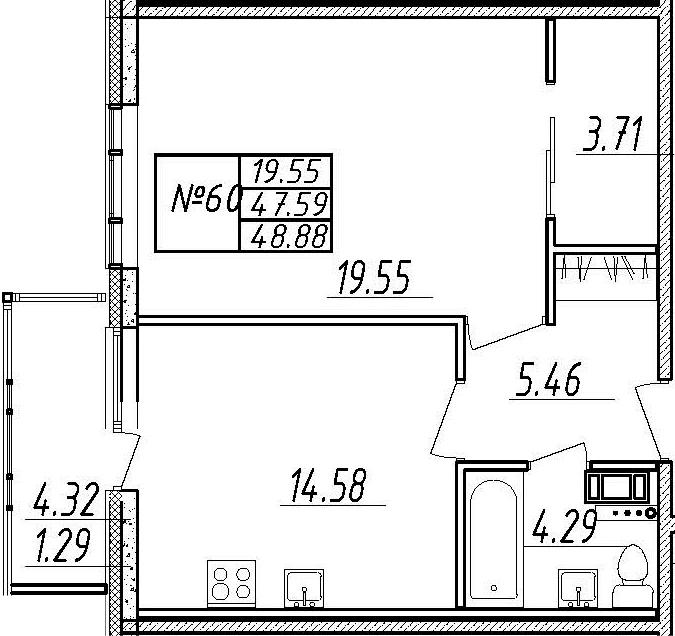 1-комнатная 51 м<sup>2</sup> на 8 этаже
