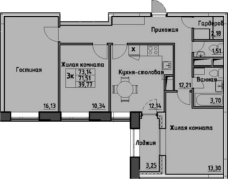 3-к.кв, 74.76 м²