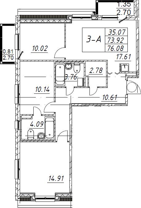 3-комнатная 79 м<sup>2</sup> на 5 этаже