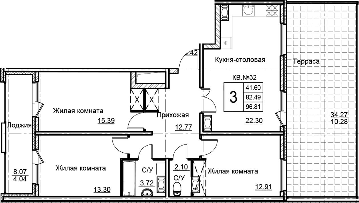 4-комнатная 124 м<sup>2</sup> на 13 этаже