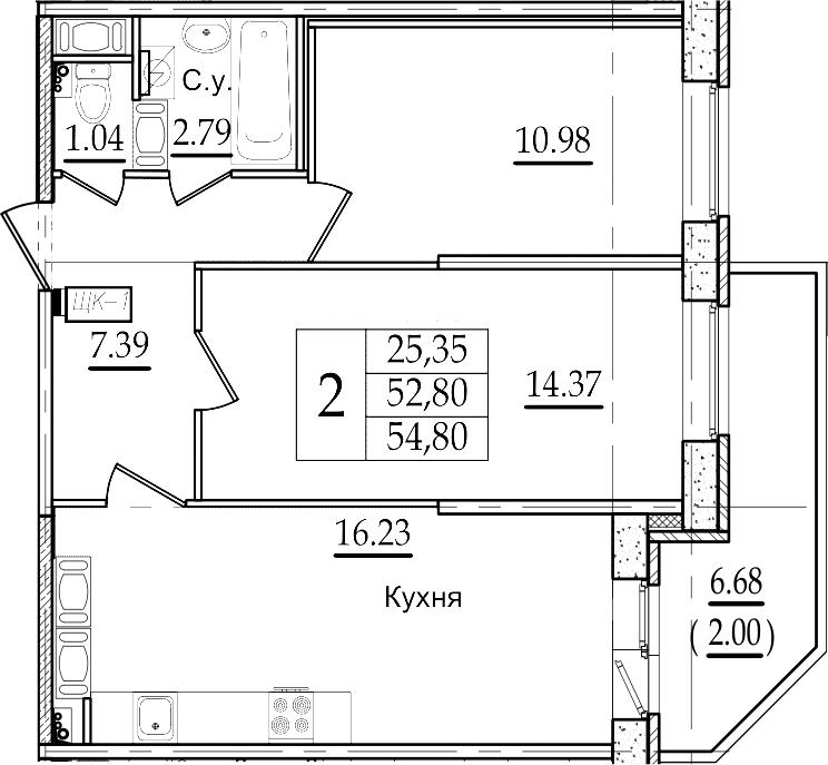 3-комнатная 59 м<sup>2</sup> на 22 этаже