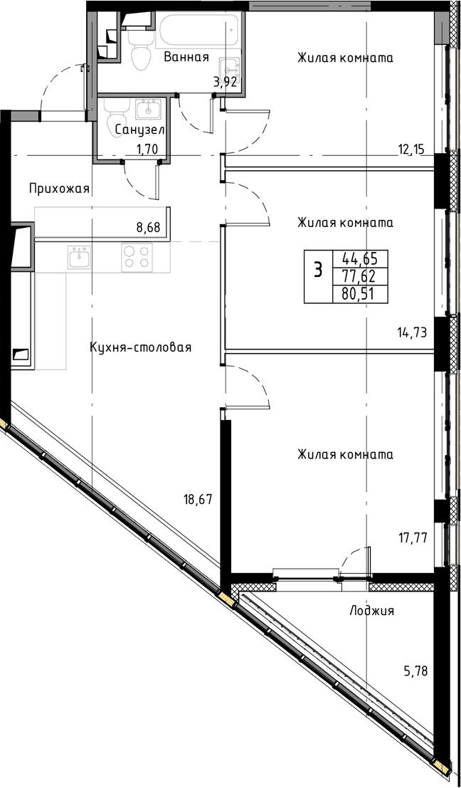 4-к.кв (евро), 83.4 м²