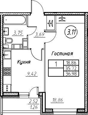 1-комнатная 38 м<sup>2</sup> на 19 этаже