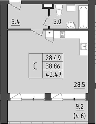 Студия 57 м<sup>2</sup> на 4 этаже