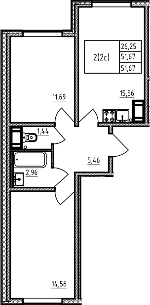 3-комнатная 51 м<sup>2</sup> на 3 этаже