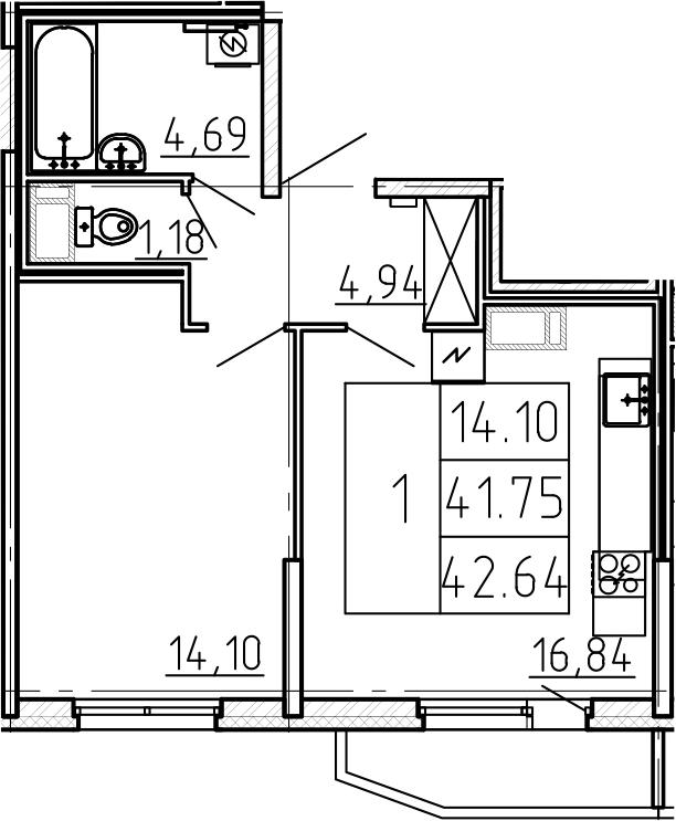 Квартира на продажу по адресу Россия, Санкт-Петербург, Приморский р-н, Санкт-Петербург, Комендантский пр-кт, д. 2