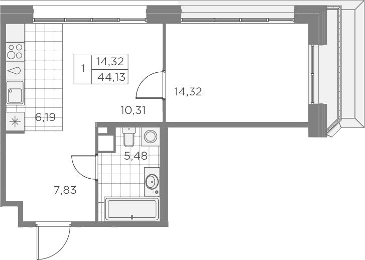 2-комнатная 44 м<sup>2</sup> на 9 этаже