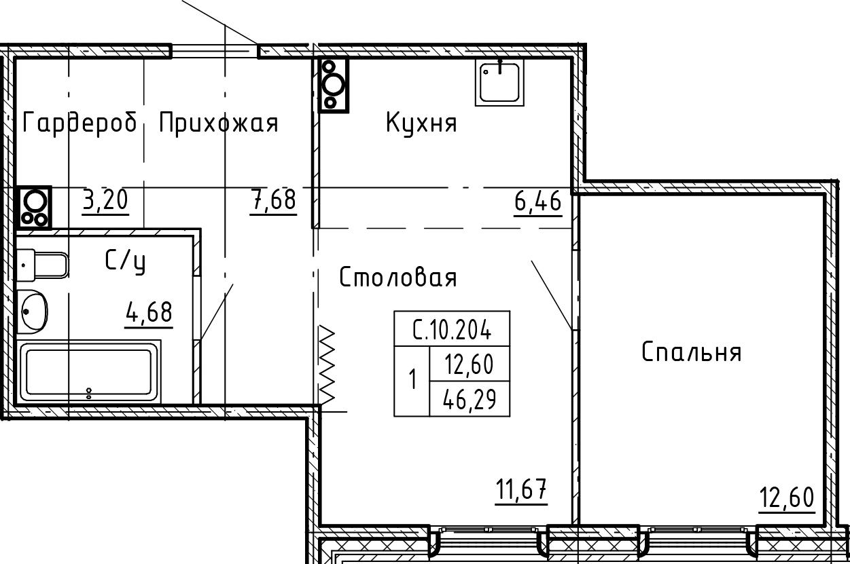 1-комнатная 46 м<sup>2</sup> на 10 этаже
