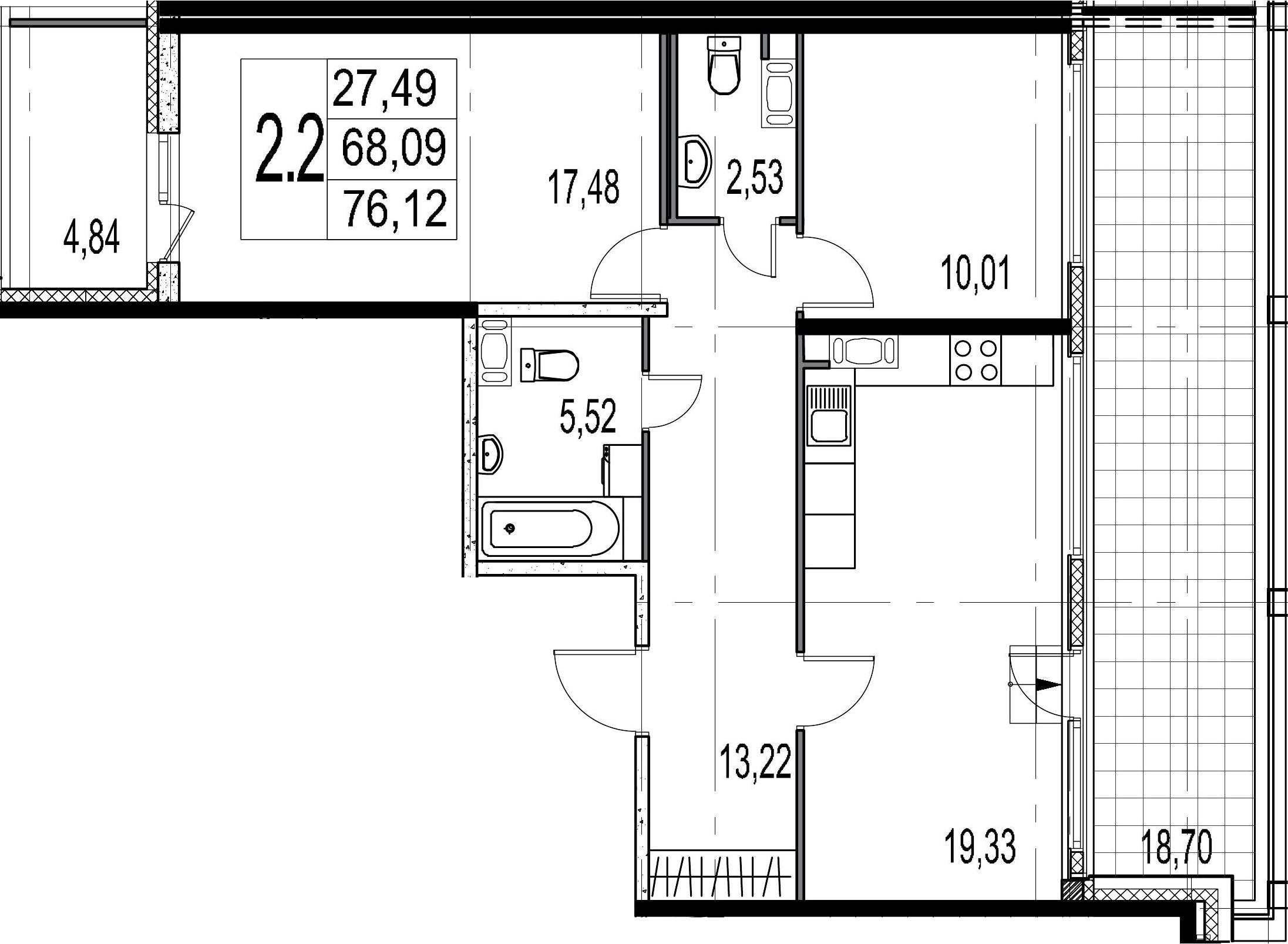 3-комнатная 91 м<sup>2</sup> на 9 этаже