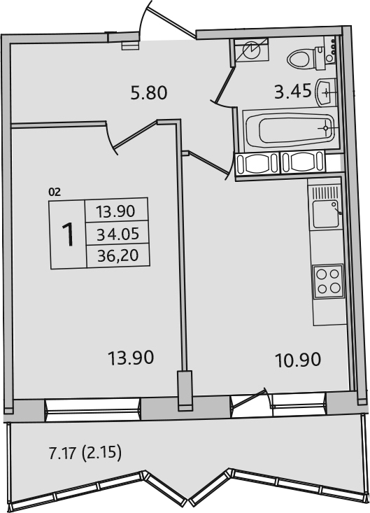 1-к.кв, 41.22 м²
