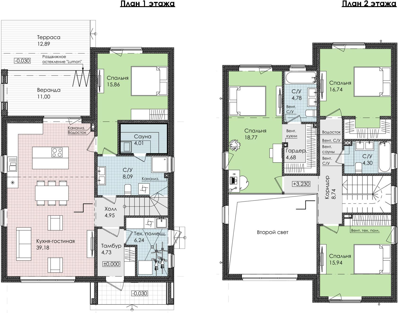 4-комнатная 180 м<sup>2</sup> на 1 этаже