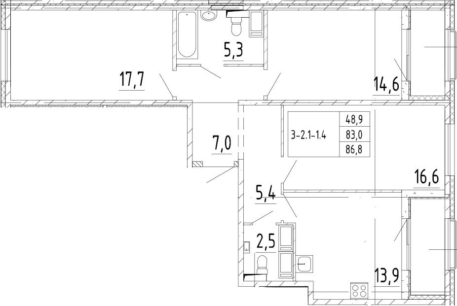 3-комнатная 90 м<sup>2</sup> на 3 этаже