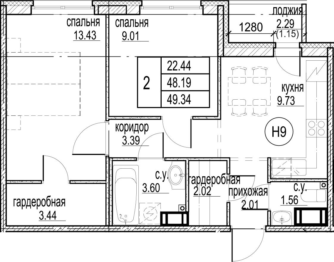 2-комнатная 50 м<sup>2</sup> на 12 этаже