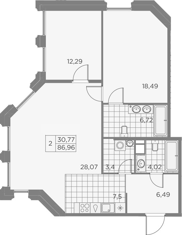 3-комнатная 86 м<sup>2</sup> на 6 этаже