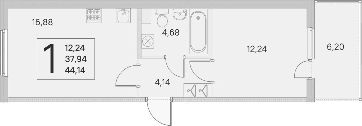 2-комнатная 44 м<sup>2</sup> на 1 этаже