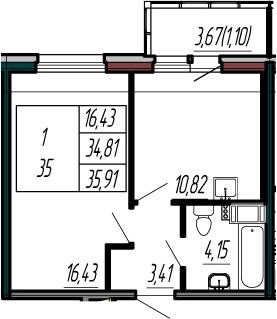 1-к.кв, 38.48 м²