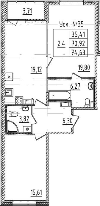 3-комнатная 74 м<sup>2</sup> на 9 этаже