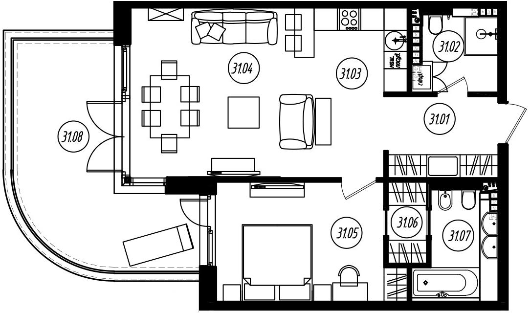 2-комнатная 86 м<sup>2</sup> на 4 этаже