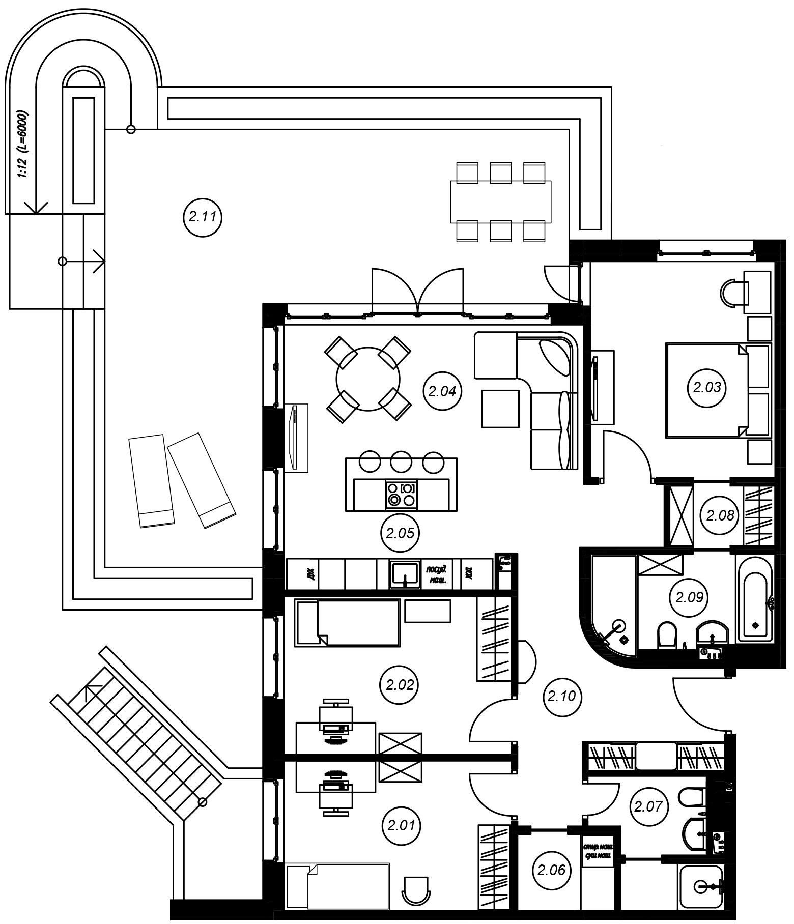 4-комнатная 140 м<sup>2</sup> на 1 этаже